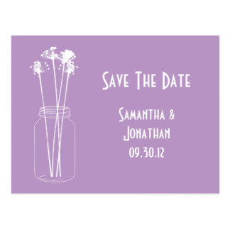 Lavender White Mason Jar Wildflowers Save The Date Postcard