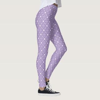 Lavender White Polka Dots Celestial Sky Pattern Leggings