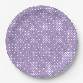 Lavender White Polka Dots Celestial Sky Pattern Paper Plate