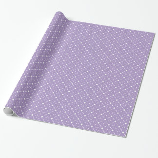 Lavender White Polka Dots Celestial Sky Pattern Wrapping Paper