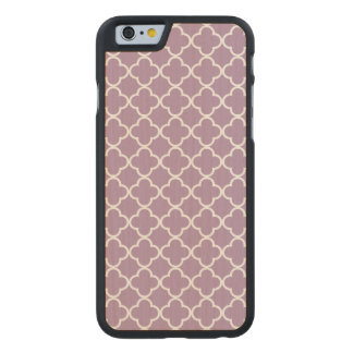Lavender White Quatrefoil Moroccan Pattern Carved Maple iPhone 6 Case