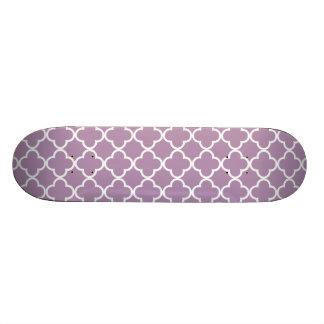 Lavender White Quatrefoil Moroccan Pattern Skate Board