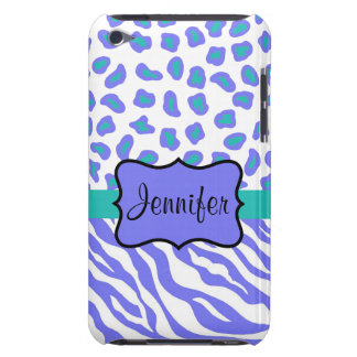 Lavender, White & TealvZebra & Cheeta Personalized Barely There iPod Covers