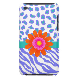 Lavender & White Zebra & Cheetah Orange Flower Barely There iPod Covers
