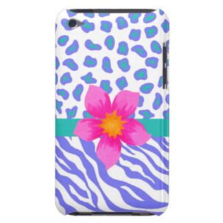 Lavender & White Zebra & Cheetah Pink Flower Barely There iPod Case