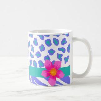 Lavender & White Zebra & Cheetah Pink Flower Basic White Mug