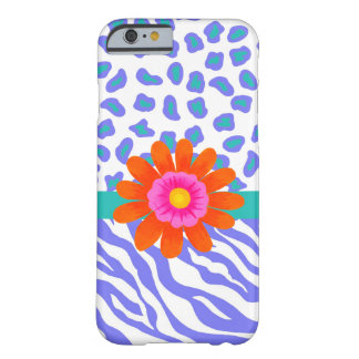 Lavender & White Zebra Leopard Skin Orange Flower Barely There iPhone 6 Case