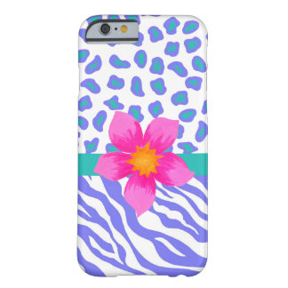 Lavender & White Zebra Leopard Skin Pink Flower Barely There iPhone 6 Case