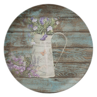 lavender wildflower blue barn wood french country party plates
