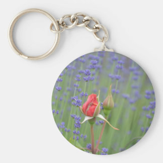 Lavender with Roses Basic Round Button Key Ring