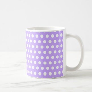 Lavender with White Polka Dots Basic White Mug