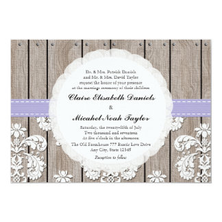 Lavender Wood Lace Wedding Invitations