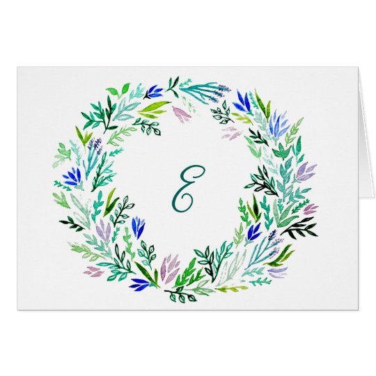 Lavender Wreath Monogram Cards