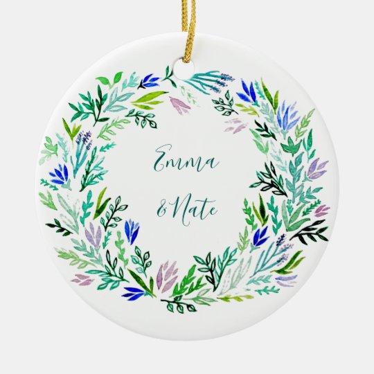 Lavender Wreath Monogram Christmas Ornament