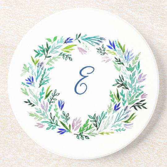 Lavender Wreath Monogram Coasters