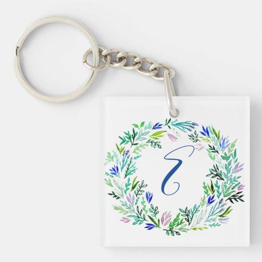 Lavender Wreath Monogram Keychain