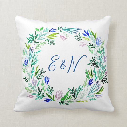 Lavender Wreath Monogram Pillow