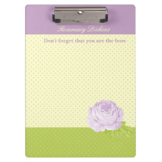 Lavender Yellow Green Polkadots and Rose Clipboard