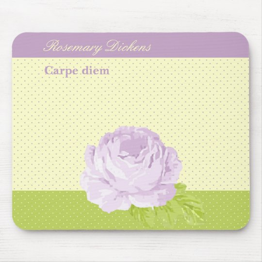 Lavender Yellow Green Polkadots and Rose Mouse Mat