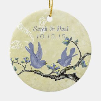 Lavender Yellow Vintage Love Bird Wedding Ornament