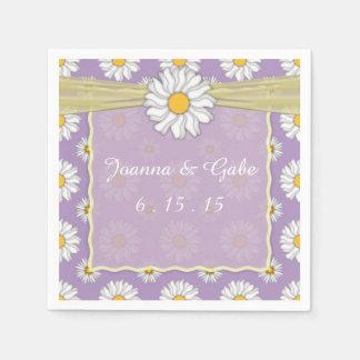 Lavender Yellow White Daisy Floral Wedding Napkins Paper Napkins