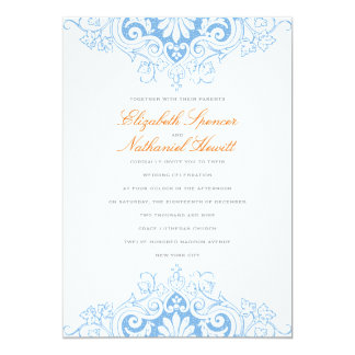 Lavish Love Wedding Invitation in Blue & Orange