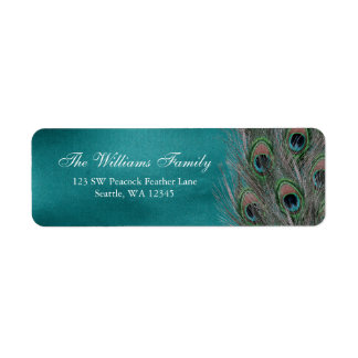 Lavish Peacock Feathers Return Address Label