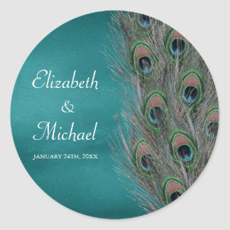Lavish Peacock Feathers Round Wedding Favor Label Classic Round Sticker