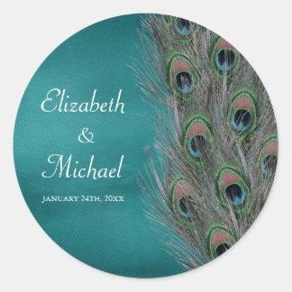 Lavish Peacock Feathers Round Wedding Favor Label Classic Round Sticker