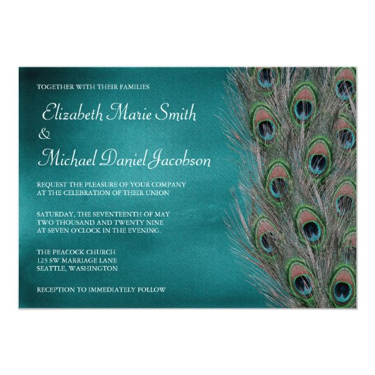 Lavish Peacock Feathers Wedding Invitation