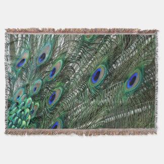 Lavish Peacock Flumes in Blue Throw Blanket