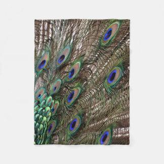 Lavish Peacock Flumes in Brown Fleece Blanket