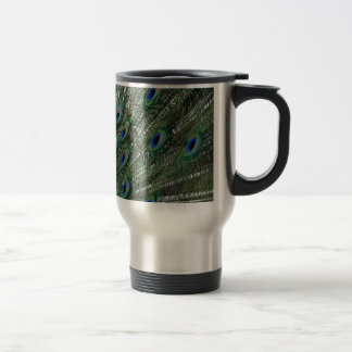 Lavish Peacock Flumes in Green Travel Mug