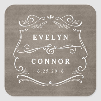 Lavish Scrolls Editable Color Wedding Sticker