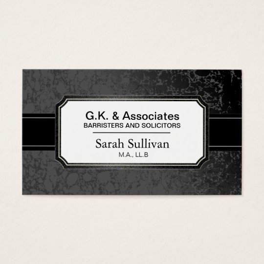 Law Business Card - Black Stylish Lawyer Attorney