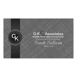 Law Business Card - Grey Black Monogram Stylish
