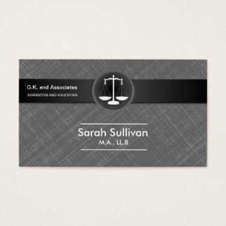 Law Business Card Stylish Grey Black Scale Justice