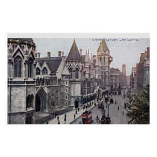Law Courts London England 1925 Vintage Poster