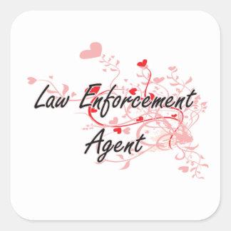 Law Enforcement Agent Artistic Job Design with Hea Square Sticker