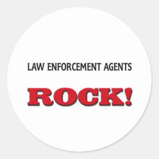 Law Enforcement Agents Rock Round Stickers