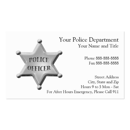 Collections of Law Enforcement Business Card Business Cards