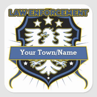 Law Enforcement Heraldry Crest Square Sticker