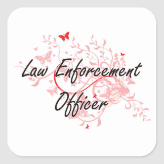 Law Enforcement Officer Artistic Job Design with B Square Sticker