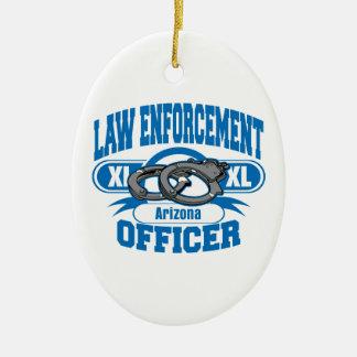 Law Enforcement Officer Handcuffs Arizona Ceramic Oval Decoration