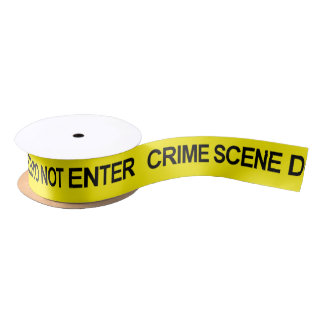 Law Enforcement Police Crime Scene Tape Satin Ribbon