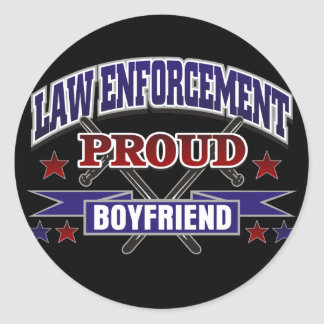 Law Enforcement Proud Boyfriend Round Sticker