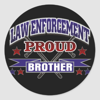 Law Enforcement Proud Brother Round Sticker