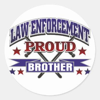 Law Enforcement Proud Brother Round Sticker