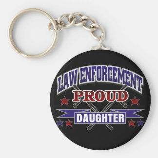 Law Enforcement Proud Daughter Basic Round Button Key Ring