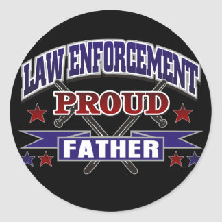 Law Enforcement Proud Father Round Stickers